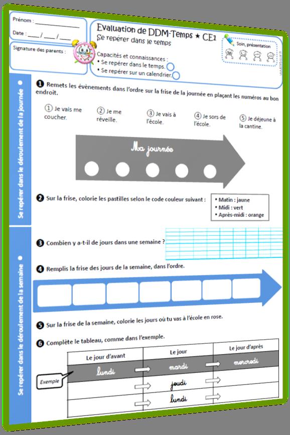 repérage temps évaluation CE1
