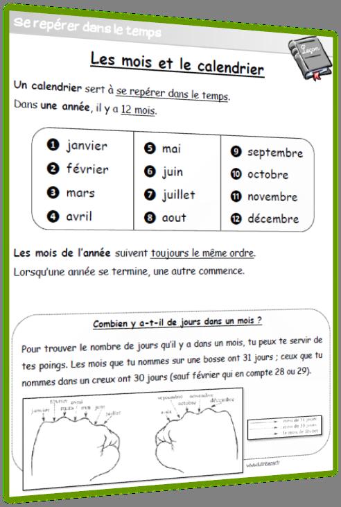 Les mois et le calendrier leçon CP CE1