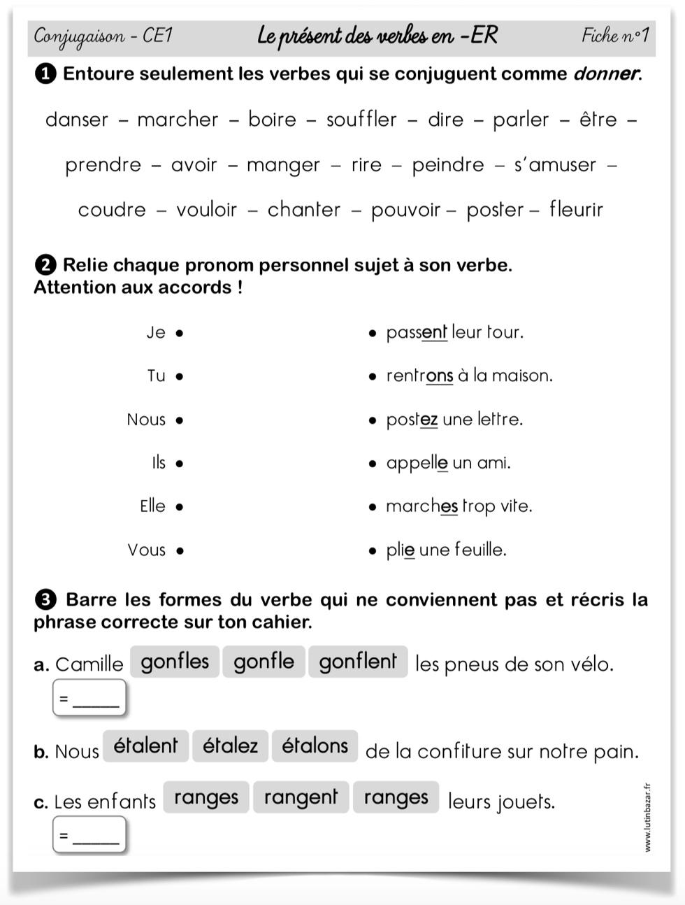 Présent exercices CE1