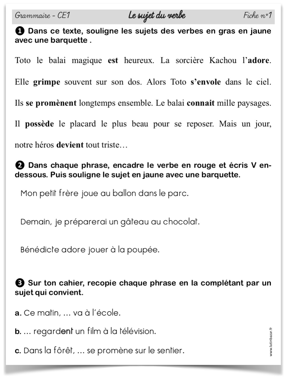 Sujet exercices CE1